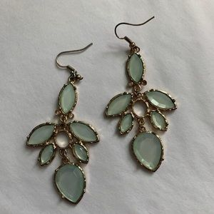 Large Pale green dangly earrings